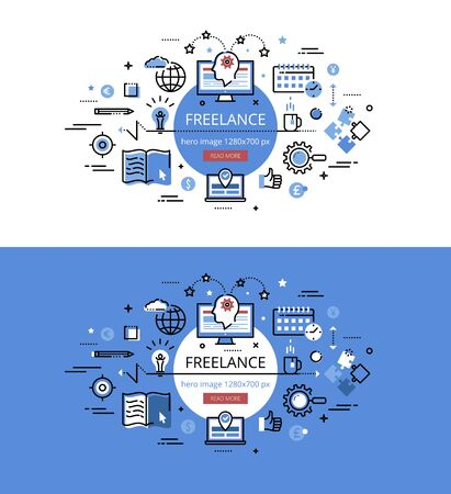 freelancing: Set of modern vector illustration concepts of freelancing. Line flat design hero banners for websites and apps with call to action button, ready to use