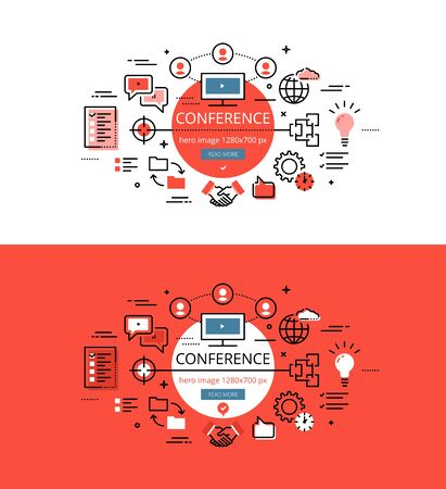 handgrip: Set of modern vector illustration concepts of conferencing. Line flat design hero banners for websites and apps with call to action button, ready to use