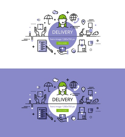 remittance: Set of modern vector illustration concepts of delivering goods. Line flat design hero banners for websites and apps with call to action button, ready to use