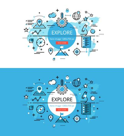 exploring: Set of modern vector illustration concepts of exploring. Line flat design hero banners for websites and apps with call to action button, ready to use