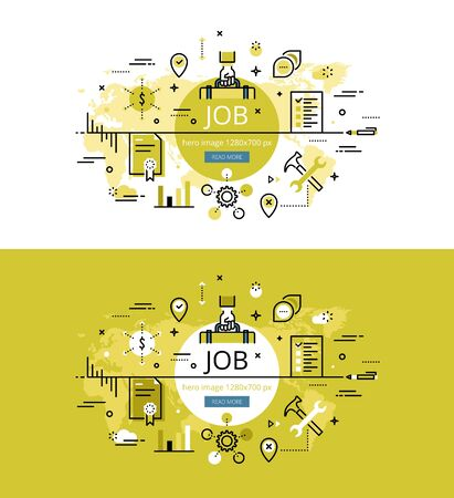 portmanteau: Set of modern vector illustration concepts of having a job. Line flat design hero banners for websites and apps with call to action button, ready to use Illustration