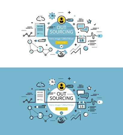 enlist: Set of modern vector illustration concepts of business process outsourcing. Line flat design hero banners for websites and apps with call to action button, ready to use