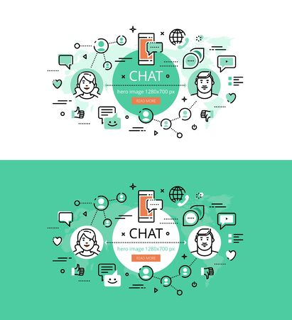 chat icon: Set of modern vector illustration concepts of chatting. Line flat design hero banners for websites and apps with call to action button, ready to use