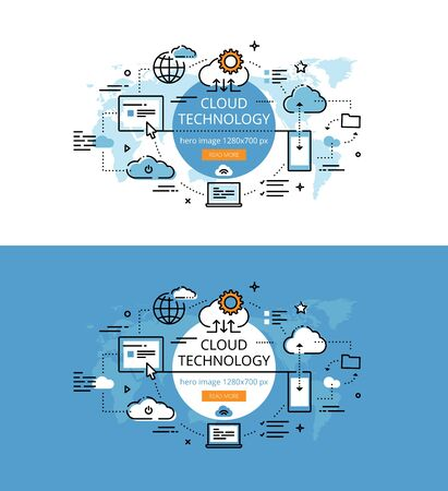 cloud technology: Set of modern vector illustration concepts of cloud technology. Line flat design hero banners for websites and apps with call to action button, ready to use