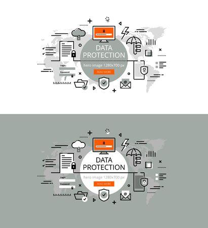 Set di illustrazione vettoriale moderno concetto di protezione dei dati di business. Linea design piatto eroe banner per siti web e applicazioni con pulsante di invito all'azione, pronto per l'uso