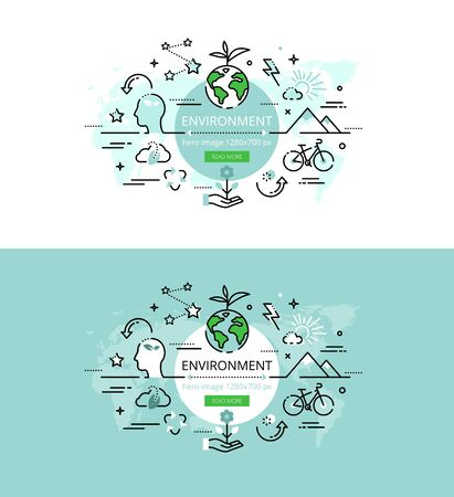 Set of modern vector illustration concepts of surroundings. Line flat design hero banners for websites and apps with call to action button, ready to use