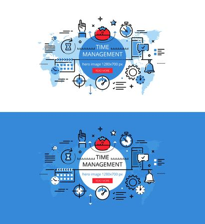 Set of modern vector illustration concepts of timing. Line flat design hero banners for websites and apps with call to action button, ready to use