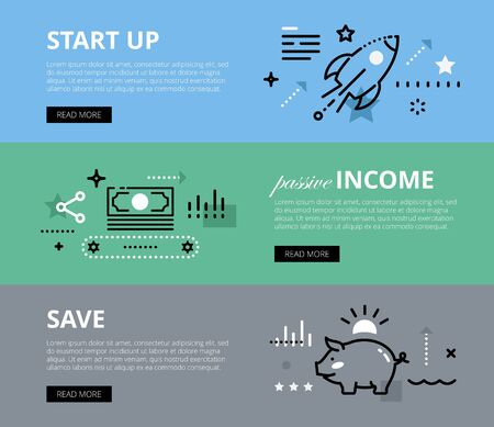 conveyer: Flat line web banners of business and finance. Line start-up rocket, money conveyer and piggy bank for websites and marketing materials with call to action buttons, ready to use