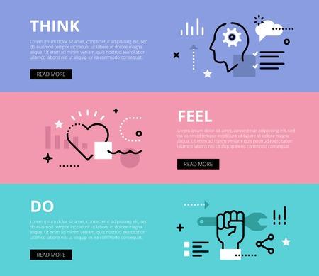Piatti banner linea web di processo motivazione. Linea umana profilo, nuvola, il cuore e la mano con la chiave per i siti web e materiale di marketing con chiamata a pulsanti di azione, pronto per l'uso