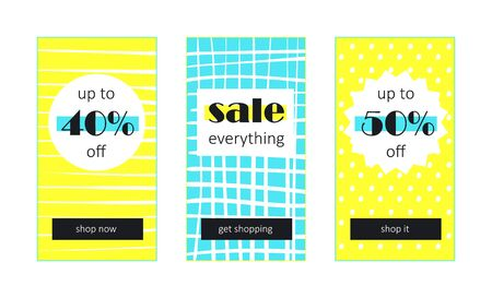 Vector shop sales banners with hand drawn backgrounds for website and mobile design, email, newsletter, ads and promotion. Web template super bright collection