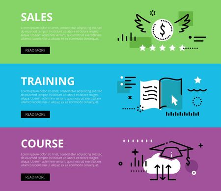 mortarboard: Flat line web banners of sales training on-line. Line money symbol, e-book and mortarboard for websites and marketing materials with call to action buttons, ready to use Illustration