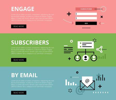 전자 메일 마케팅의 플랫 라인 웹 배너. 사용 준비 버튼과 함께 라인 구독 양식, 웹 사이트 및 마케팅 자료에 대한 가입자 목록 및 전자 메일