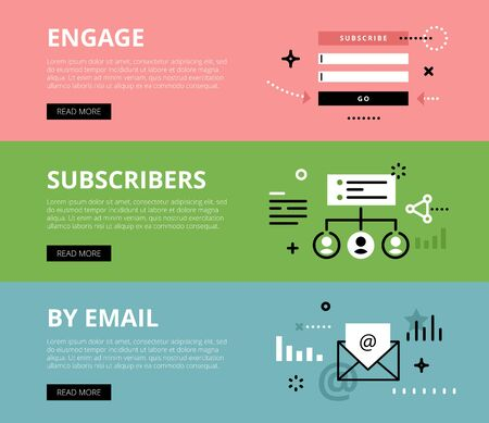 directly: Flat line web banners of email marketing. Line subscribe form, subscribers list and email for websites and marketing materials with call to action buttons, ready to use Illustration