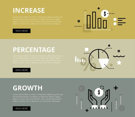 increasing: Flat line web banners of increasing percentage growth. Line bar graph, diagram and money symbol for websites and marketing materials with call to action buttons, ready to use