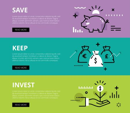 piggy bank money: Flat line web banners of financial literacy. Line piggy bank, money bags and money sprout for websites and marketing materials with call to action buttons, ready to use
