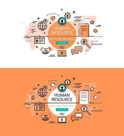 recruiting: Set of modern vector illustration concepts of HR and recruiting. Line flat design hero banners for websites and apps with call to action button, ready to use