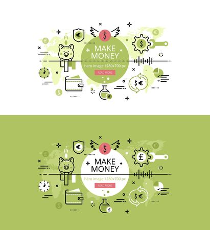 earn more: Set of modern vector illustration concepts of earning money. Line flat design hero banners for websites and apps with call to action button, ready to use