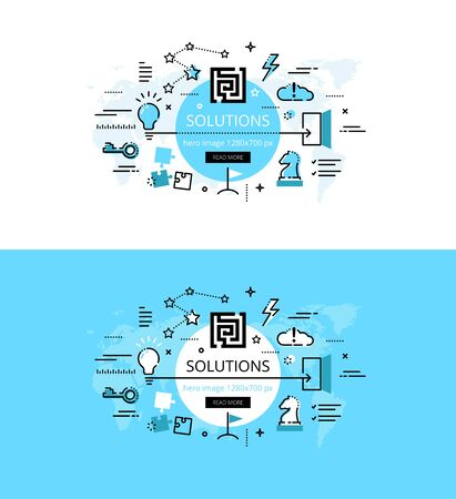 Set of modern vector illustration concepts of business solutions. Line flat design hero banners for websites and apps with call to action button, ready to use Illustration