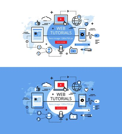 tutorials: Set of modern vector illustration concepts of web lectures and tutorials. Line flat design hero banners for websites and apps with call to action button, ready to use