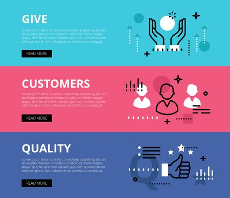 feature: Flat line web banners of provide quality. Line hand icon, people avatars and thumb up symbol for websites and marketing materials with call to action buttons, ready to use