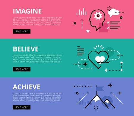 achieving: Flat line web banners of goals achieving. Line human profile, heart symbol and mountain peak for websites and marketing materials with call to action buttons, ready to use
