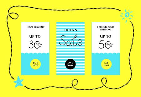 hue: Vector ocean sales banners for website and mobile design, email, newsletter, ads and promotion. Web catch eye template super bright collection Illustration
