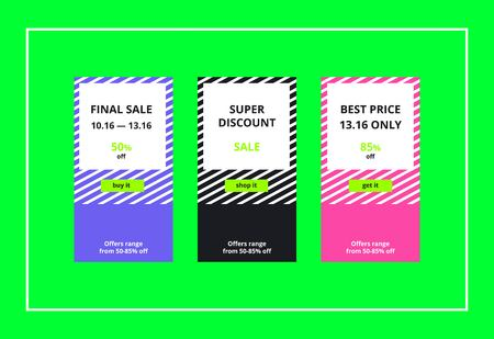 hue: Vector final sales banners for website and mobile design, email, newsletter, ads and promotion. Web catch eye template super bright collection Illustration