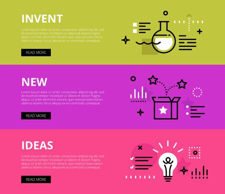 over lab: Flat line web banners of invention ideas. Line lab flask, open box and lightbulb for websites and marketing materials with call to action buttons, ready to use