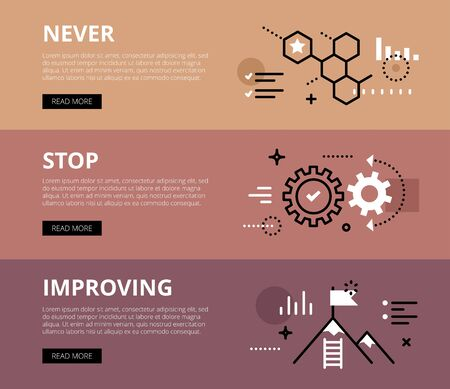 honey comb: Flat line web banners of business motivation. Line honey comb, gearwheels and mountain peak for websites and marketing materials with call to action buttons, ready to use