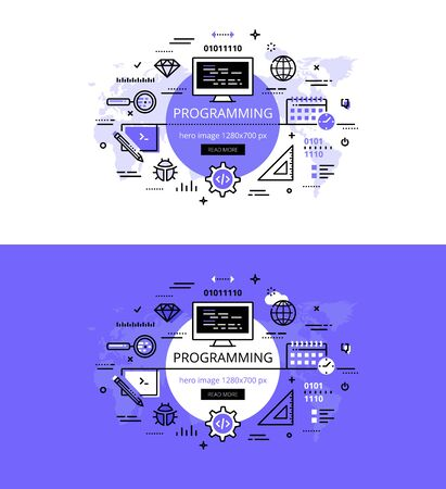 programs: Set of modern vector illustration concepts of writing programs. Line flat design hero banners for websites and apps with call to action button, ready to use