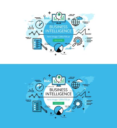 meaningful: Set of modern vector illustration concepts of business intelligence. Line flat design hero banners for websites and apps with call to action button, ready to use