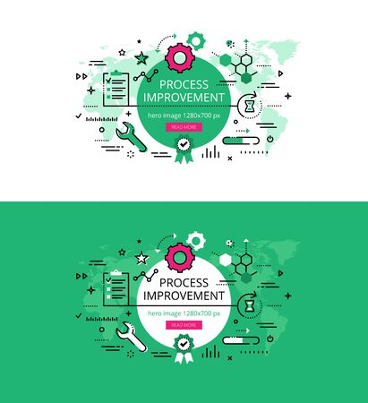 improving: Set of modern vector illustration concepts of improving process. Line flat design hero banners for websites and apps with call to action button, ready to use