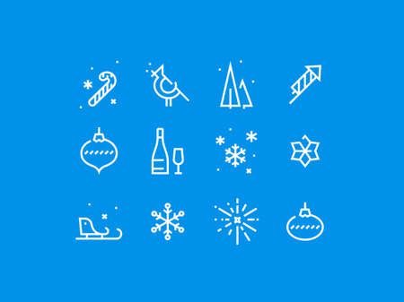 pixel perfect: Set of trendy thick line pixel perfect icons of christmas and holidays. Premium quality icon collection for web design, mobile app, graphic design