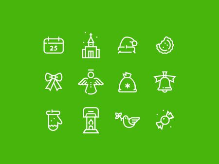 green lantern: Set of trendy thick line pixel perfect icons of christmas celebration. Premium quality icon collection for web design, mobile app, graphic design