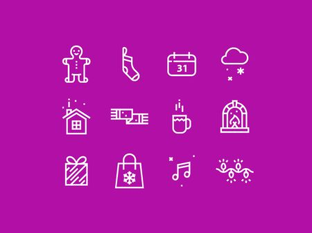 pixel perfect: Set of trendy thick line pixel perfect icons of christmas celebration. Premium quality icon collection for web design, mobile app, graphic design