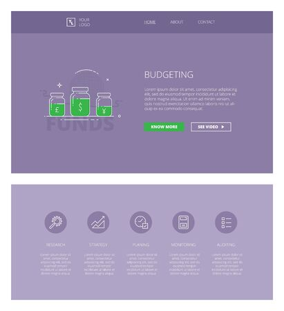 literacy: Minimal design web template with header and five icons for financial literacy courses landing pages, sites and apps. White outline minimal illustrations of budgeting
