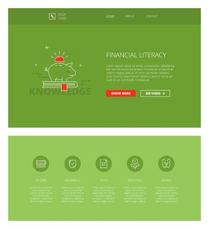 personal finance: Minimal design web template with header and five icons for financial literacy courses landing pages, sites and apps. White outline minimal illustrations of personal finance management
