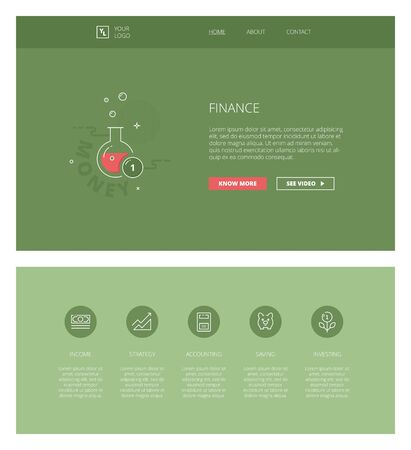 personal finance: Minimal design web template with header and five icons for financial landing pages, sites and apps. White outline minimal illustrations of personal finance Illustration