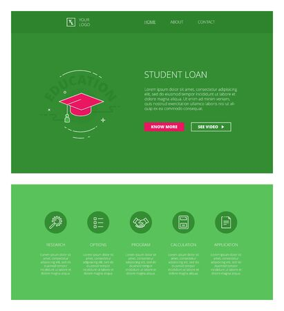 loaning: Minimal design web template with header and five icons for loaning companies landing pages, sites and apps. White outline minimal illustrations of student loan