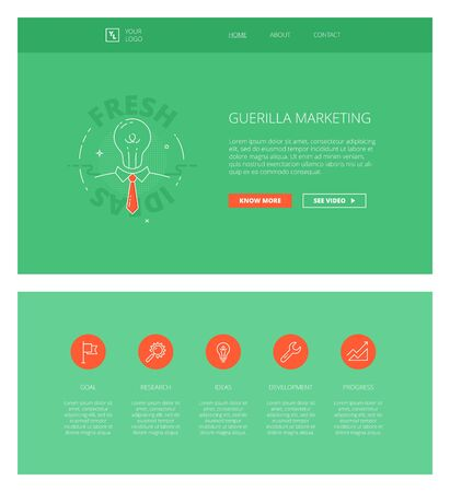 guerilla: Minimal design web template with header and five icons for marketing landing pages, sites and apps. White outline minimal illustrations of guerilla marketing