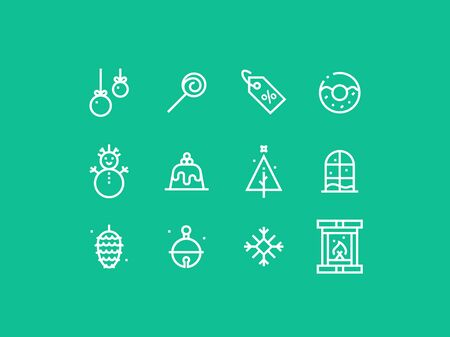 pixel perfect: Set of trendy thick line pixel perfect icons of New Year and holidays. Premium quality icon collection for web design, mobile app, graphic design Illustration