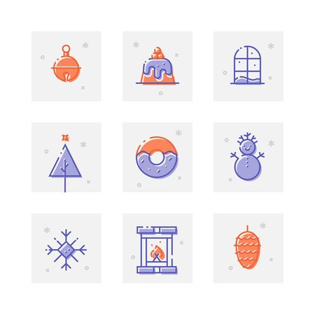 christmas pudding: Set of trendy thick line icons of New Year celebration. Greeting icon collection for web design, mobile app, graphic design