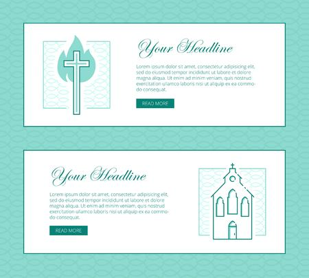 Religion vector thin line banner template for modern church promo religion vector thin line banner template for modern church promo materials monochrome thin line illustrations stopboris Image collections