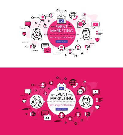 event: Modern vector illustration concept of event marketing. Line flat design hero banners for websites and apps