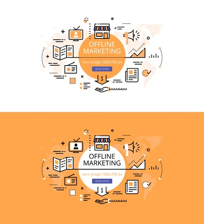 Modern vector illustration concept of offline marketing. Line flat design hero banners for websites and apps Illustration