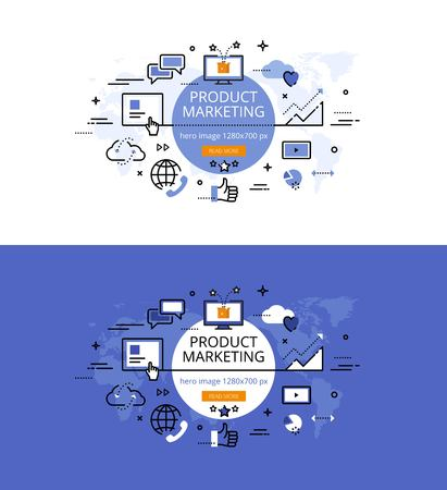 world receiver: Modern vector illustration concept of product marketing. Line flat design hero banners for websites and apps Illustration