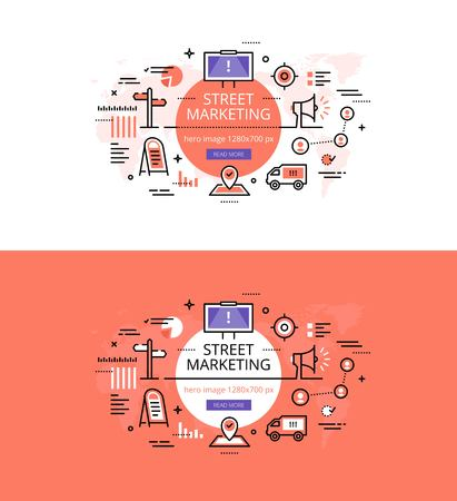 Modern vector illustration concept of street marketing. Line flat design hero banners for websites and apps Illustration