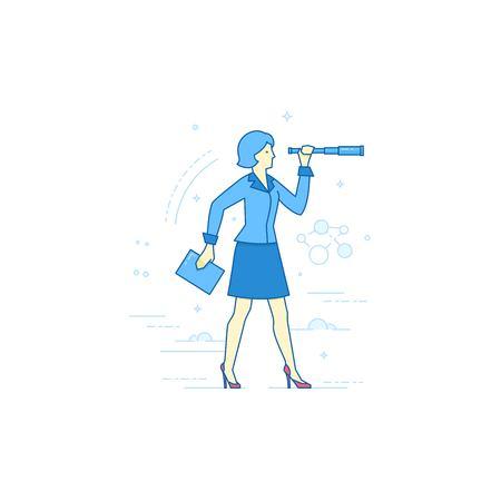 perspectiva lineal: Vector lineal plana ilustración en tonos azules: jóvenes de negocios en un traje con el portapapeles mira a través del catalejo a la perspectiva de negocio. Aislado Vectores