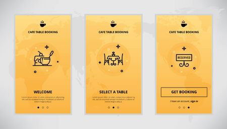 cafe table: Onboarding design concept for cafe table booking service. Modern vector outline mobile app design set of a table booking services. Onboarding screens for a table booking online
