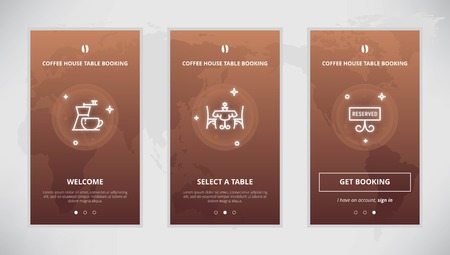booking: Onboarding design concept for coffee house table booking service. Modern vector outline mobile app design set of a table booking services. Onboarding screens for a table booking online
